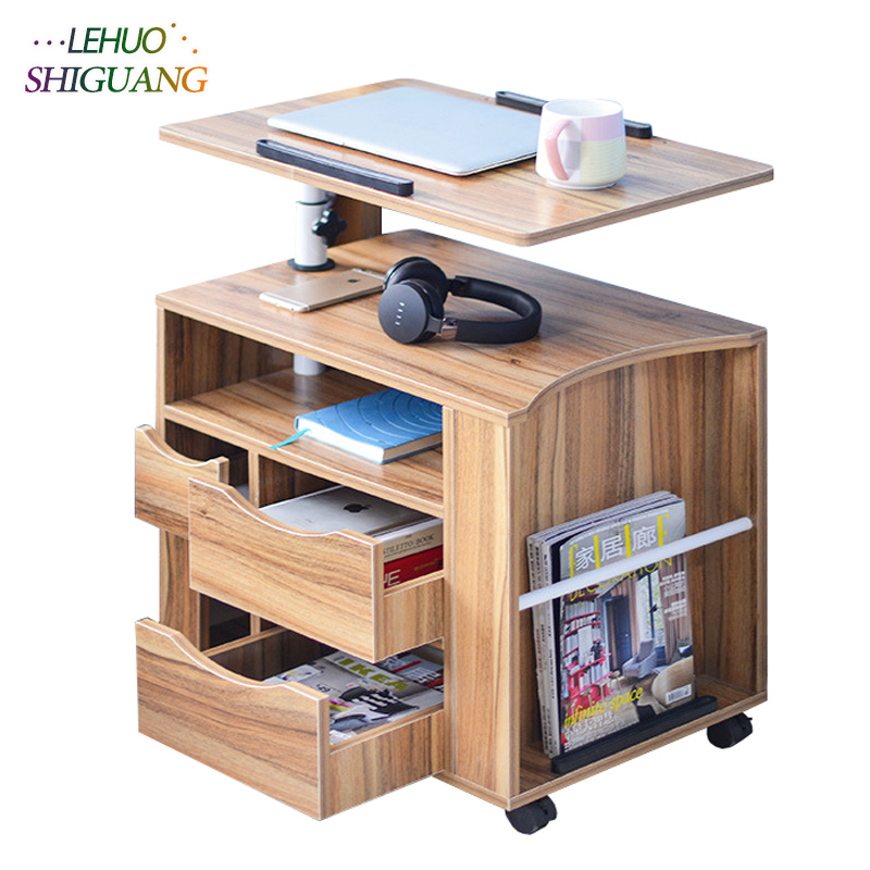 Nightstands Laptop table Wooden standing office desk With drawer computer desk Rotatable folding table bedroom Bedside cabinet wooden dressing table makeup desk with stool oval rotation mirror 5 drawers white bedroom furniture dropshipping