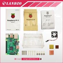 C Ahududu Pi ile 3 başlangıç kiti-raspberry pi 3 model b wifi & mavi ve fan ve ısı ile ahududu pi vaka lavabo