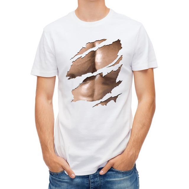 0f5724a7 New Fashion Hip Hop 3d T kemeja Pria T-shirt Lucu Cetak Bulu Dada Otot