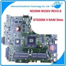 Для ASUS N53SM N53SV REV2.0 Материнская Плата Оригинальный Ноутбук (Mainboard) 2 Г GT630M 4 RAM Слотов Испытано Хорошо