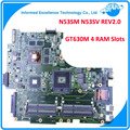 Para asus n53sm n53sv rev2.0 madre del ordenador portátil original (mainboard) 2g gt630m 4 ranuras de memoria ram probado bien
