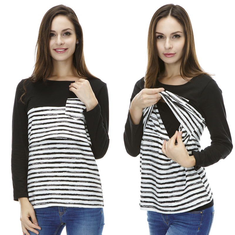 Maternity Clothes Nursing tops New Striped Patchwo...