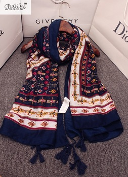 National style autumn and winter cotton and linen scarf, dual large spring and summer Floral, summer sun long shawl mantillas