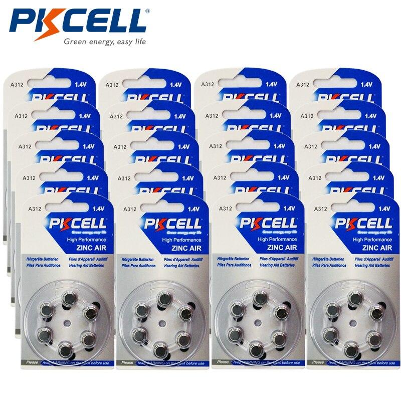 120 шт. PKCELL слуховой аппарат Батареи a312 312a za312 <font><b>312</b></font> <font><b>pr41</b></font> S312 цинк Air <font><b>312</b></font>/a312 6 шт./ блистер * 20 карт