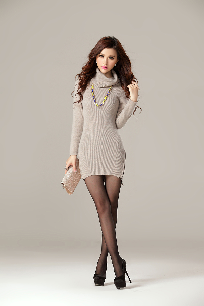Online Shop Women's slim turtleneck cashmere sweater women's tight ...
