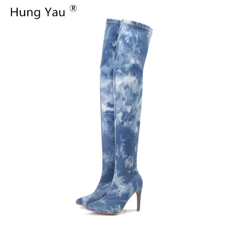 Hung Yau Over The Knee High Suede Women Denim Boots Women's Fashion Thigh High Boots Shoes Woman Slim Sexy Boots Plus size 42 2017 new women suede slim sexy fashion over the knee boots sexy thin high heel boots platform woman thigh high boots shoes