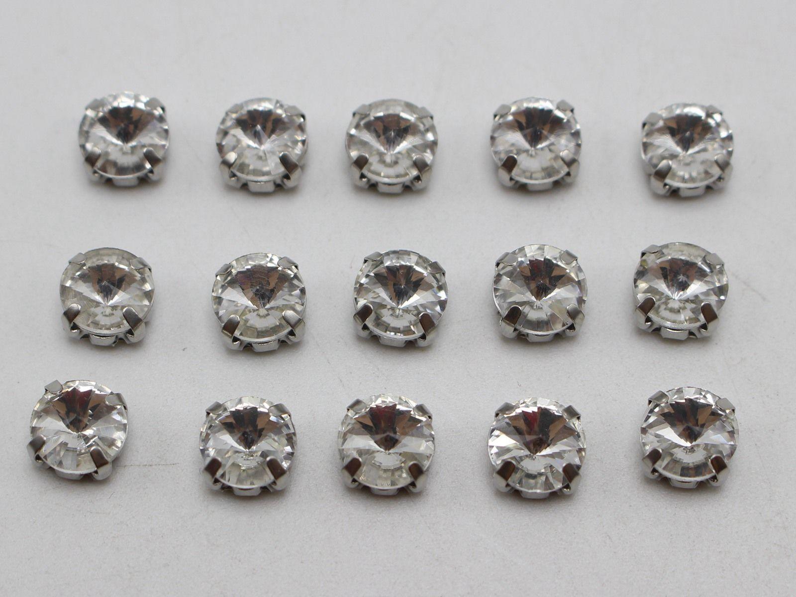 Vidrio Cristal Claro 50 Plata Pedrería Rose Montees 8mm cose en granos