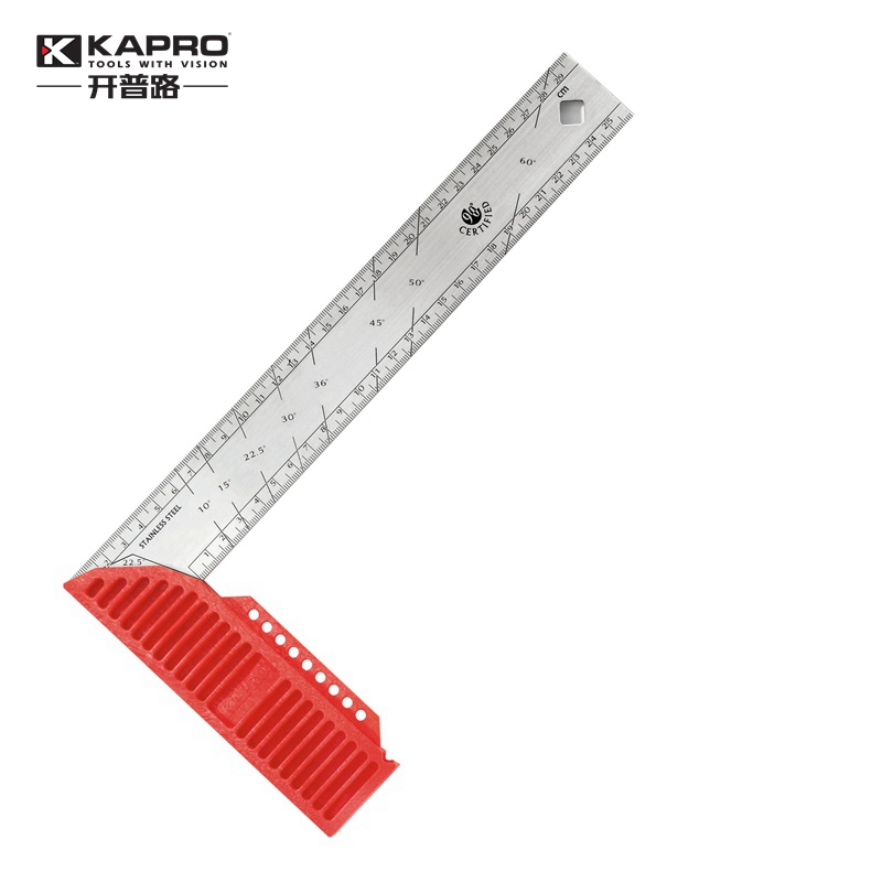 KAPRO Multi Function Rectangular Ruler Woodworking Square 90 Degree Stainless Steel Thickened Ruler Tool