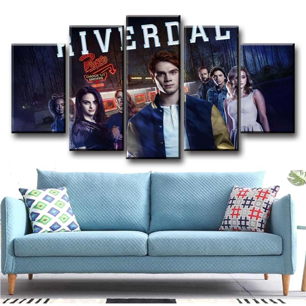 Canvas Painting 5 Pieces Blue Wall Art Picture Riverdale Poster For Living Room Large Canvas Prints Wall Paintings Quadros Decor