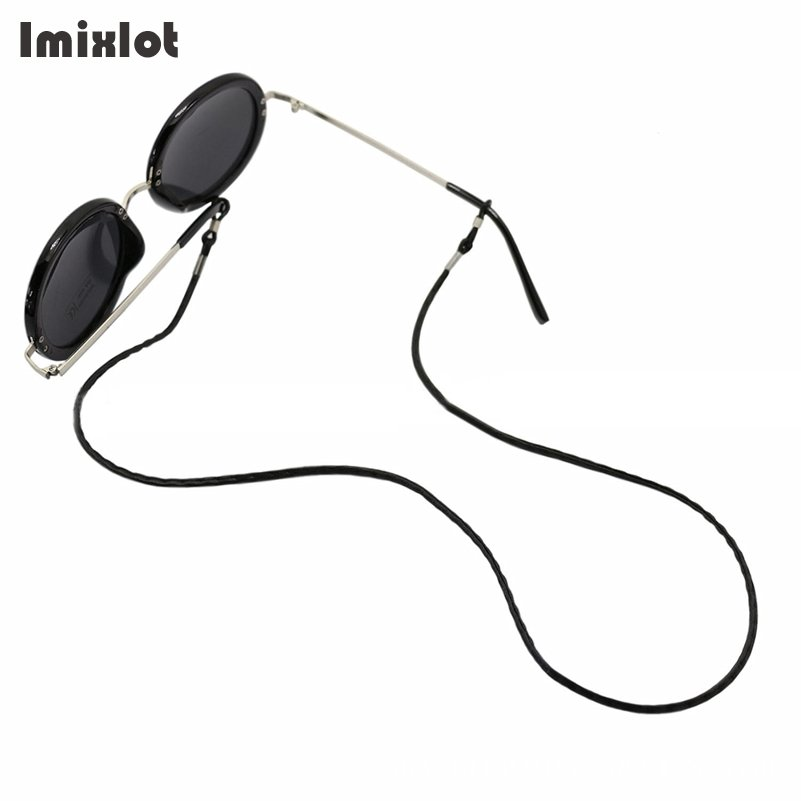 Imixlot 1 PC Glasses String Black Leather Cord Eyeglass Holder Sunglass Eyewear Glasses Neck String Strap