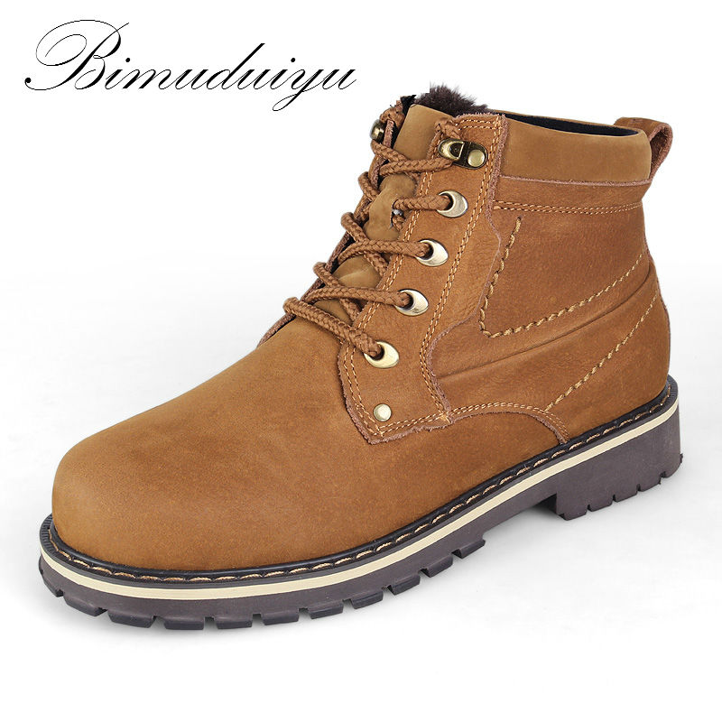 BIMUDUIYU Full Grain Leather Winter Boots Russian Style Men Casual Shoe Plus Plush Handmade Warm Snow Boots High Quality Zapatos