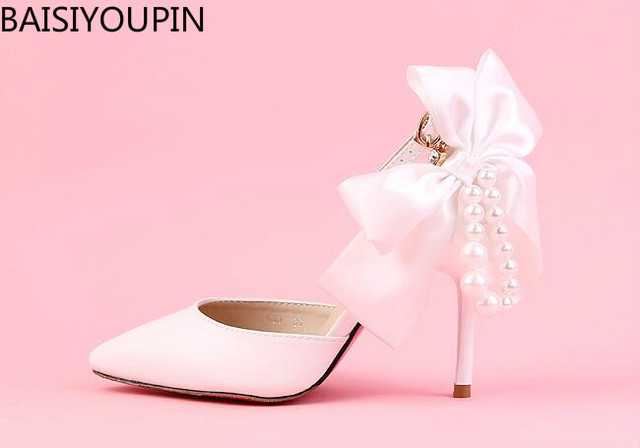 c5105d0b0f1872 2018 New Ladies Shoe White 9cm Pearl Pointed High Heeled Wedding Shoes Satin  Bow Bride Shoes
