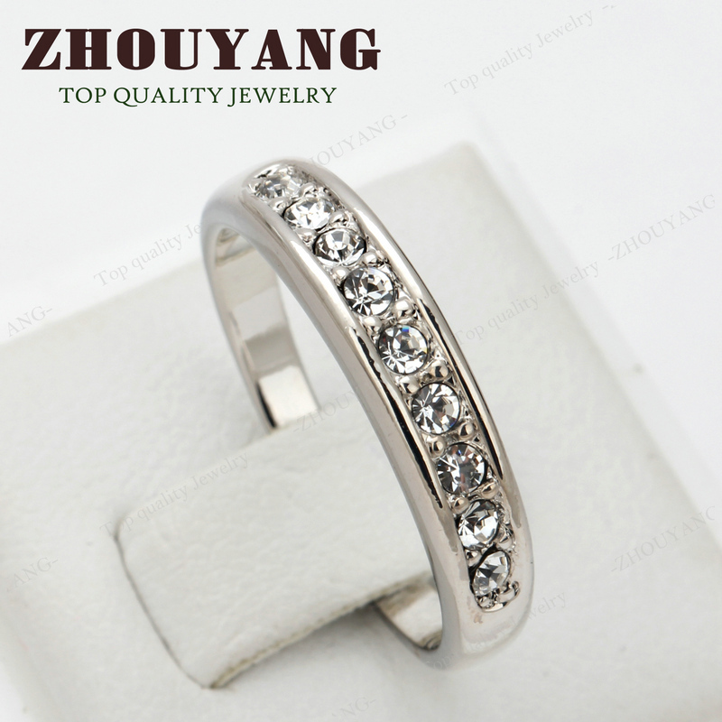 Simple 9 Stone Classic Silver Color Austrian Crystals Wedding Ring For Women Full Sizes Wholesale Top Quality ZYR063