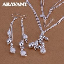 Gümüş 925 takı seti çok katmanlar fırçalayın pürüzsüz boncuk kolye damla küpe kadınlar için moda düğün takısı