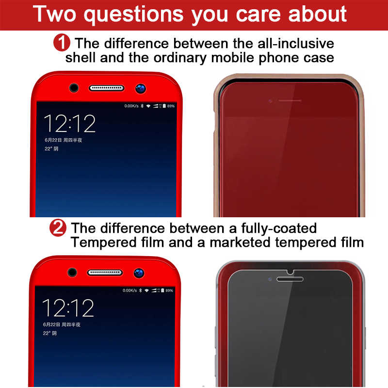 Fashion 360 Shockproof Full Cover For Samsung Galaxy A3 A5 J1 J3 J5 J7 J2 Prime 2016 2017 A7 A6 A8 J4 J6 Plus 2018 Phone Case