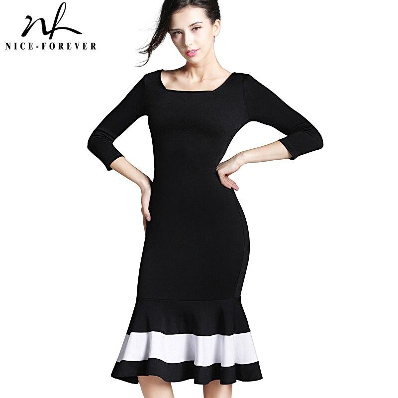 Nice-Forever Business Work Dress Elegant Mermaid Office 3/4 Sleeve Women Sheath Black Bodycon Female Formal Slim Dress B233