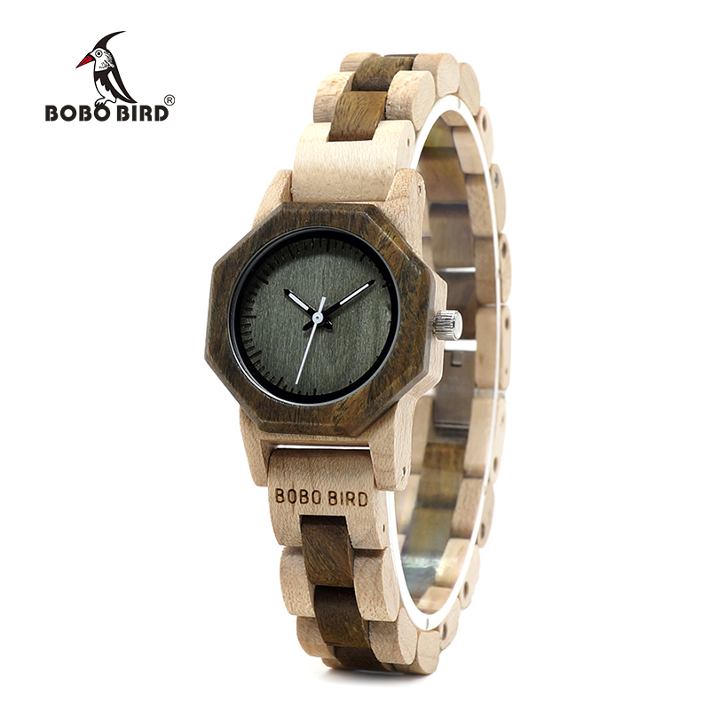 BOBO BIRD WM25M26 Duotone Wooden Quartz Watch For Women Creative Design Octagon Exquisite Watches Gift Box