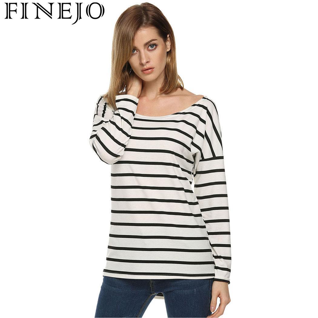 Finejo Casual Female Shirt Women Top Shirt Autumn Spring T-shirt Loose Striped O-neck Long Sleeve Leisure Women T-shirts