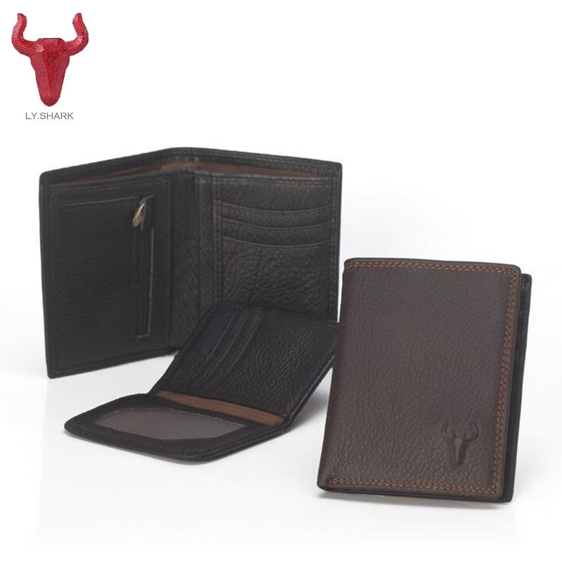 LY.SHARK new Men Genuine Leather Short wallet male Casual ID Card Holder designer Men's Purse Coin Pocket Zipper dallor price male leather casual short design wallet card holder pocket