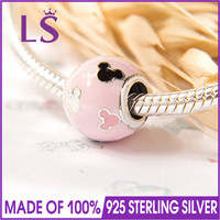 LS High Quality Genuine 925 SilverMouse Icon Pink Murano Charms Fit European Bracelets&Bangles Pulseira Authentic Fine Jewelry W