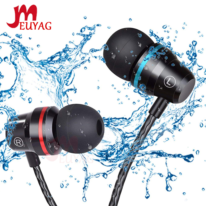 MEUYAG Professional Metal earphone In Ear Wired Earphone 3.5mm Heavy Bass Sound Quality Music Sport Headset With mic For Xiaomi image