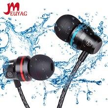 MEUYAG profesjonalne metalowe słuchawki douszne przewodowe słuchawki 3.5mm ciężki bas jakość dźwięku muzyka sportowy zestaw słuchawkowy z mikrofonem dla Xiaomi