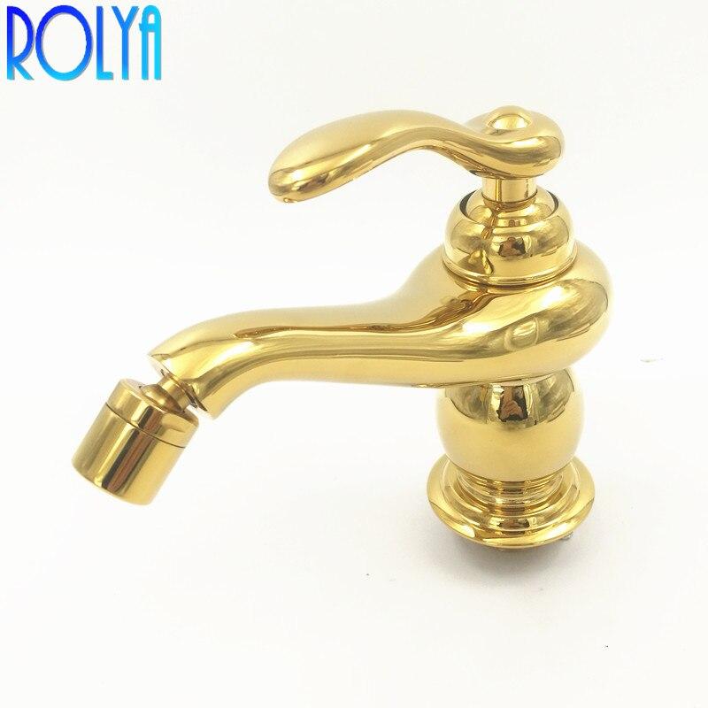 Rolya Golden Finish Bidet Faucet Mixer Tap Solid Brass Construction