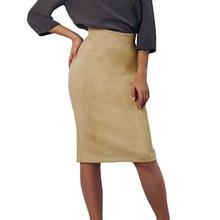 Nueva mujeres sexy Suede falda lápiz color sólido de alta cintura split  bodycon mediana falda vintage Suede split elástico grues. 5dffeee5d258