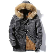 2017 Winter Jackets Men Thick Warm Hooded Windproof Parka Men Coat Fashion Cotton Jacket Brand Clothing Plus Size Grey blue 3XL