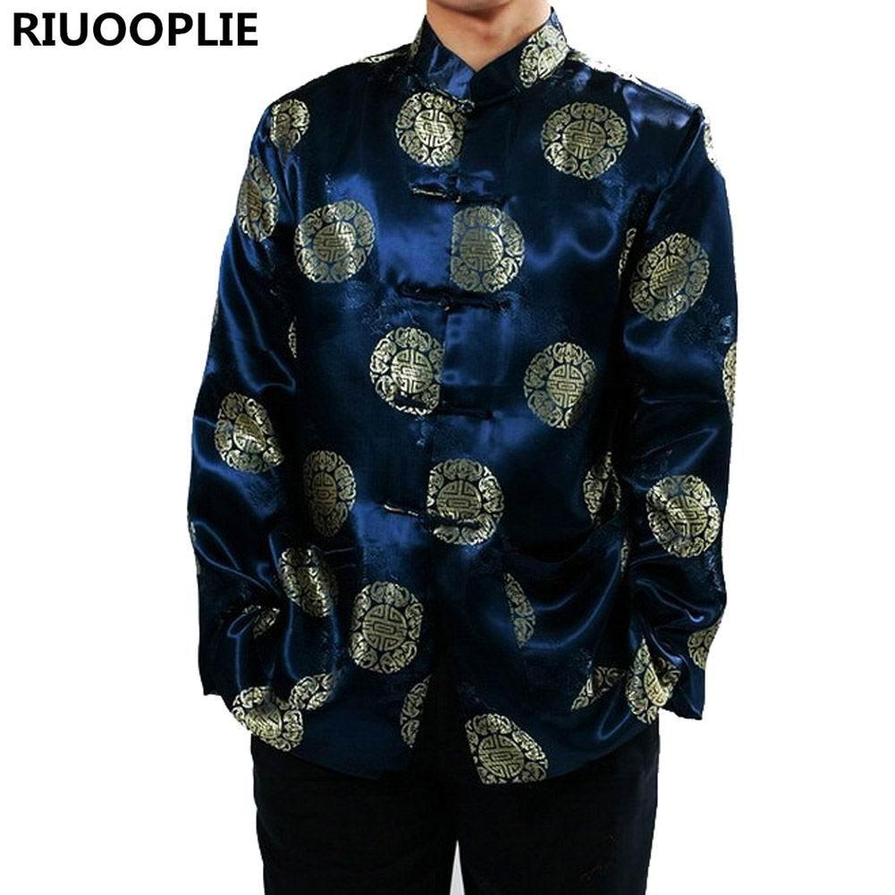 RIUOPLIE الملابس الصينية للرجال الأعلى تانغ دعوى السنة الجديدة هدية حزب الرجال معطف