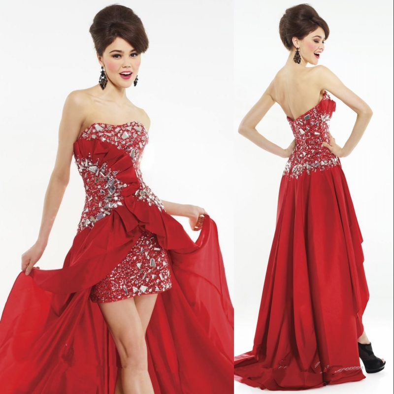 892bdd2d96a80 Hot Red Short Front Long Back Juniors Sexy Girls Cocktail Dresses-in ...