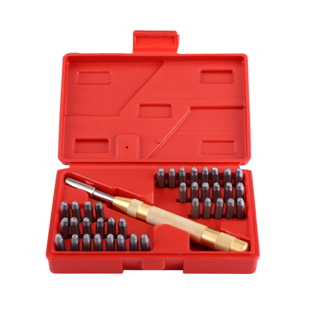 38pcs set letter number punch tool set metal punch stamp for Gardening tools 6 letters