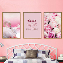 Abstract Swan Posters And Prints Pink Rose Poster Nordic Wall Art Canvas Print Flower Painting Decoration Home Picture Unframed цена