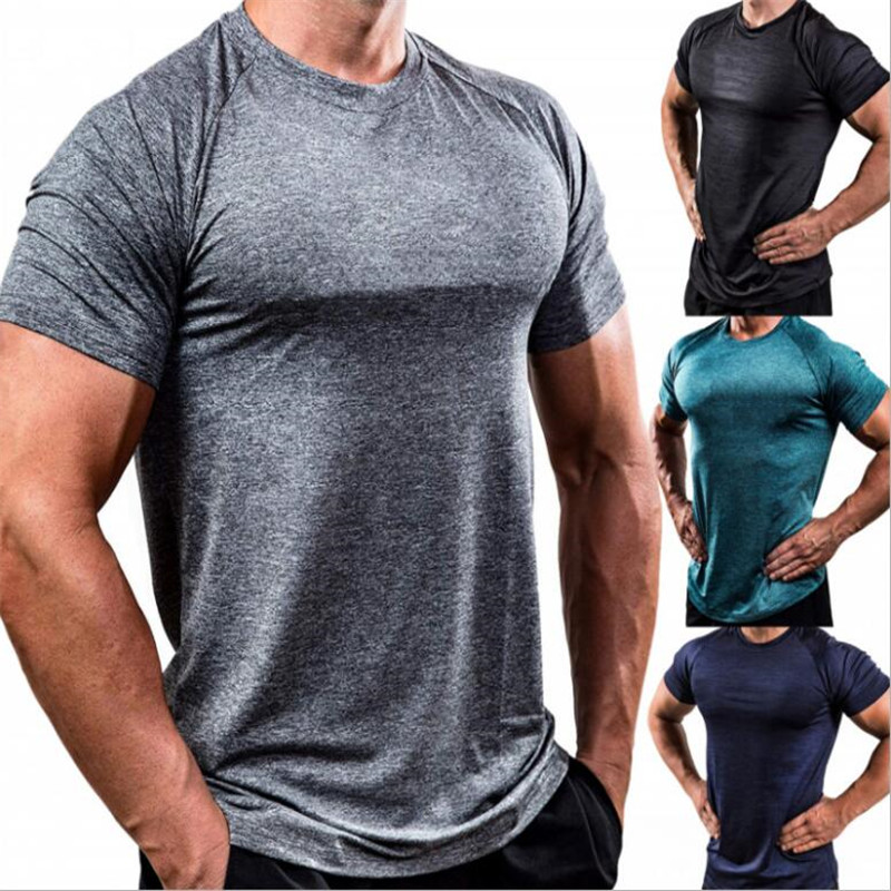 2019 New Men Running Tight Short T-shirt Compression Quick Dry T-shirt Male Gyms Fitness Bodybuilding Jogging Tees Tops Clothing