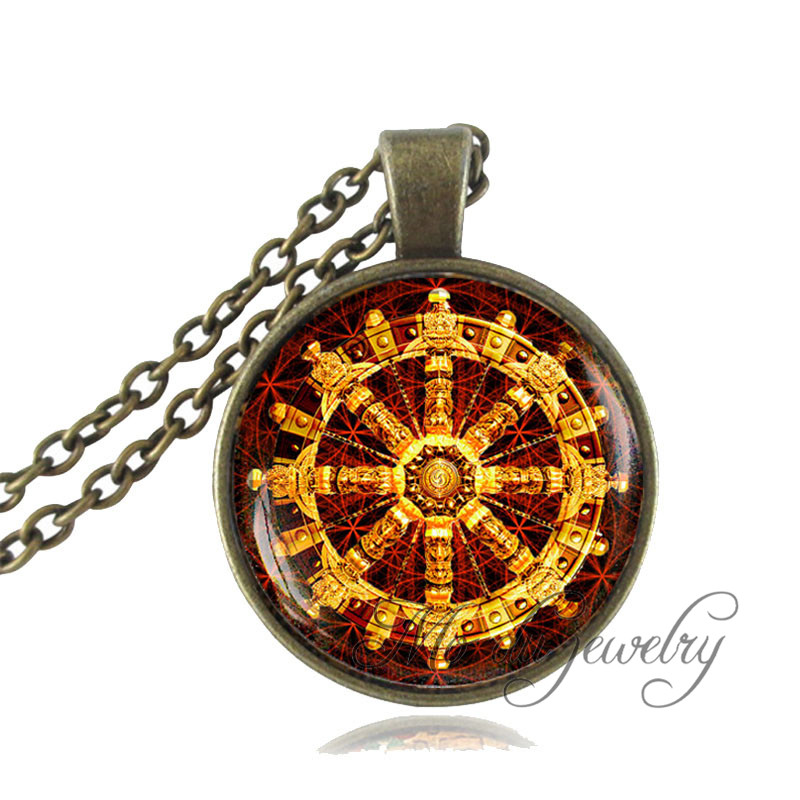 Dharma wheel necklace vintage buddhist wheel chakra pendant art dharma wheel necklace vintage buddhist wheel chakra pendant art photo buddhist spiritual necklace sacred geometry jewelry gifts in pendant necklaces from aloadofball Gallery