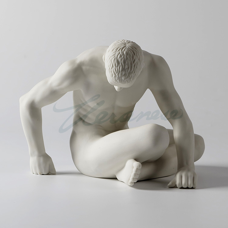 Modern ceramic character sculpture nude art man statue abstract thinker figurine gay angel juvenile ornament crafts