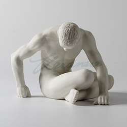 Moderna ceramica carattere scultura nudo uomo arte statua astratta pensatore figurine gay angelo giovanile ornamento artigianato