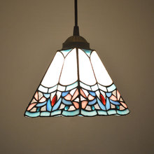 Pendant Light Stained Glass Shade Art Deco Style Dining Room Decor Hanging Lamp E27 110