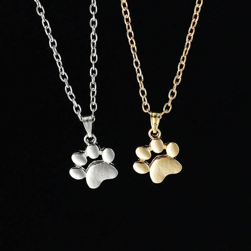 Fashion Cute Pets Dogs Footprints Paw Chain Pendant Necklace Jewelry For Women Sweater Necklace Jewelry Accessories