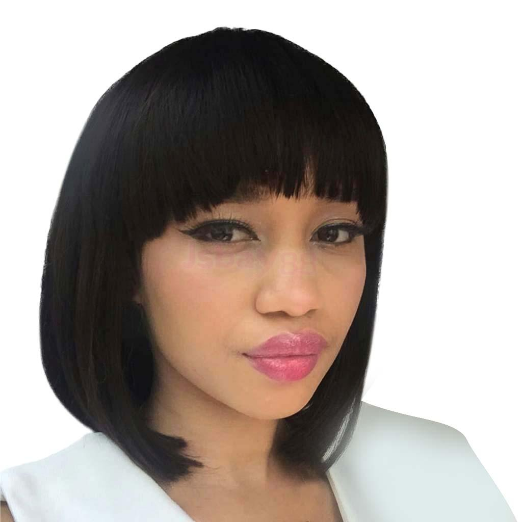 Natural Black Human Hair Wigs Short Bob Straight Full Wigs with Bangs цена 2017