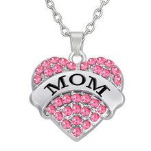 My Shape Fashion Pink Big Litter Sister Mom Crystal Heart Necklace & Pendants Mother Daughter Jewelry for Family Gifts 1PCS(China)