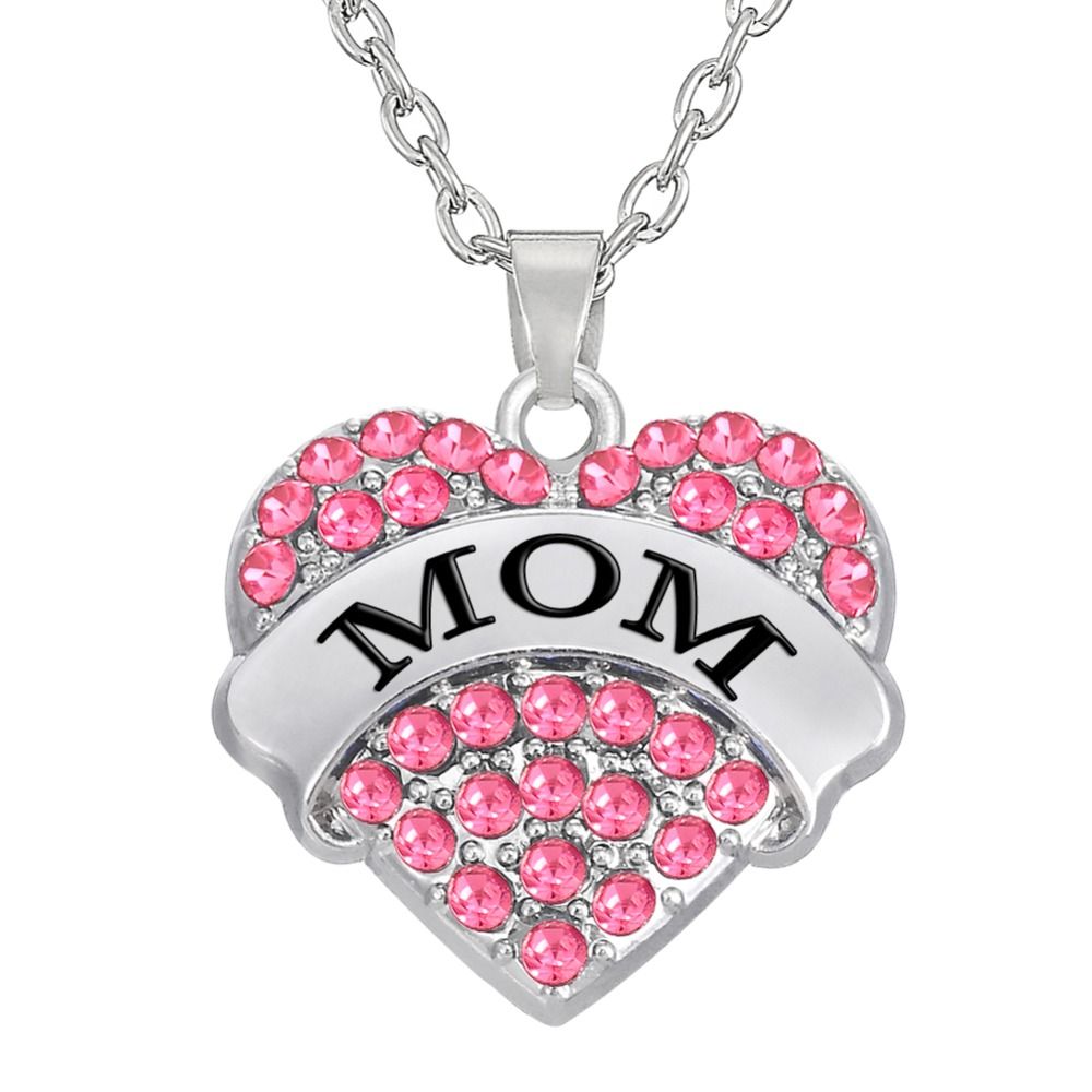My shape 2017 fashion pink mom crystal heart necklace pendants big my shape 2017 fashion pink mom crystal heart necklace pendants big litter sister mother daughter jewelry for family gifts in pendant necklaces from aloadofball Choice Image
