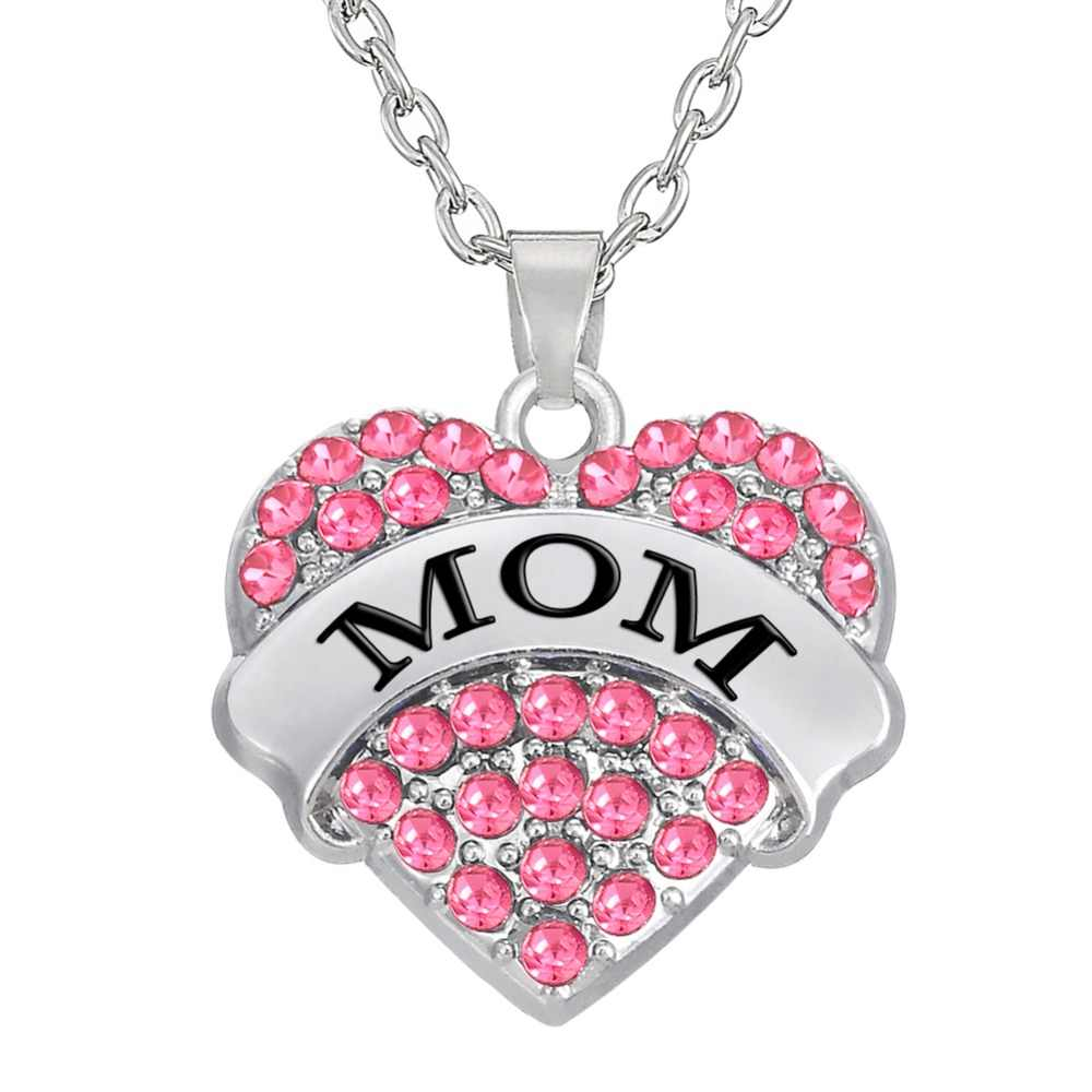 My Shape Fashion Pink Big Litter Sister Mom Crystal Heart Necklace & Pendants Mother Daughter Jewelry for Family Gifts 1PCS