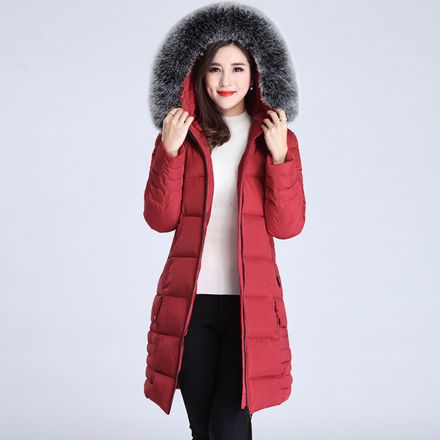 Plus size 5XL Winter Long Jacket 2018 New Winter Coats Women Big Fur Collar Warm Woman Parka Outerwear Down Jacket Winter Jacket 1