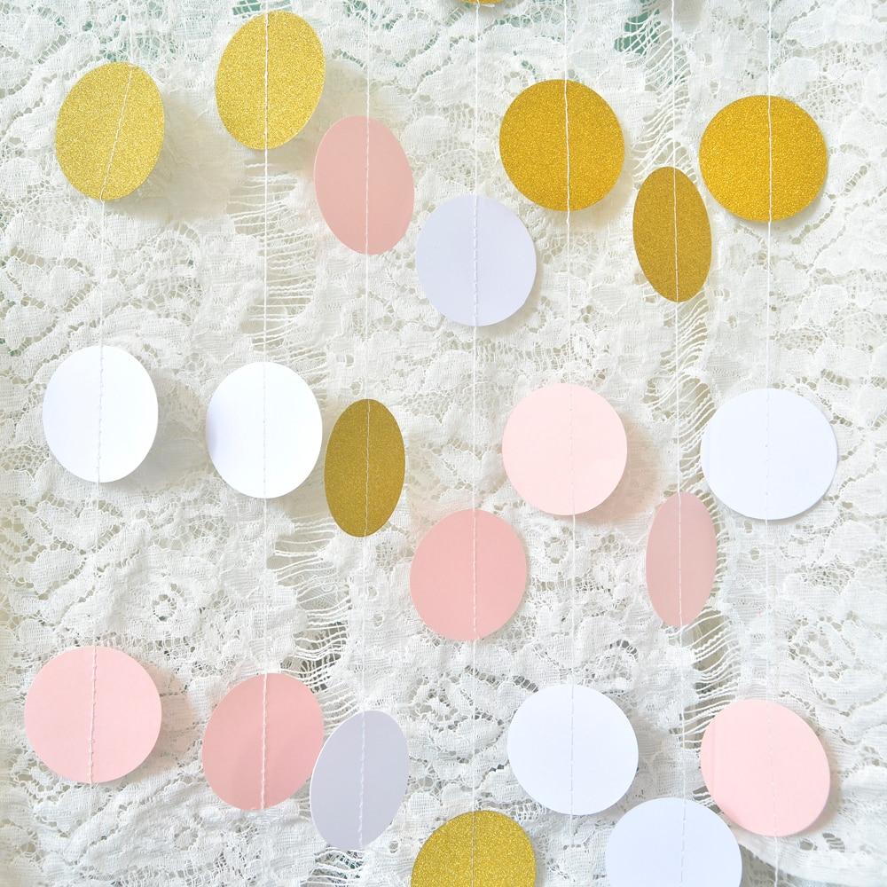 5cm * 2m rózsaszín fehér arany sárkány kerek lóg garland - Ünnepi és party kellékek