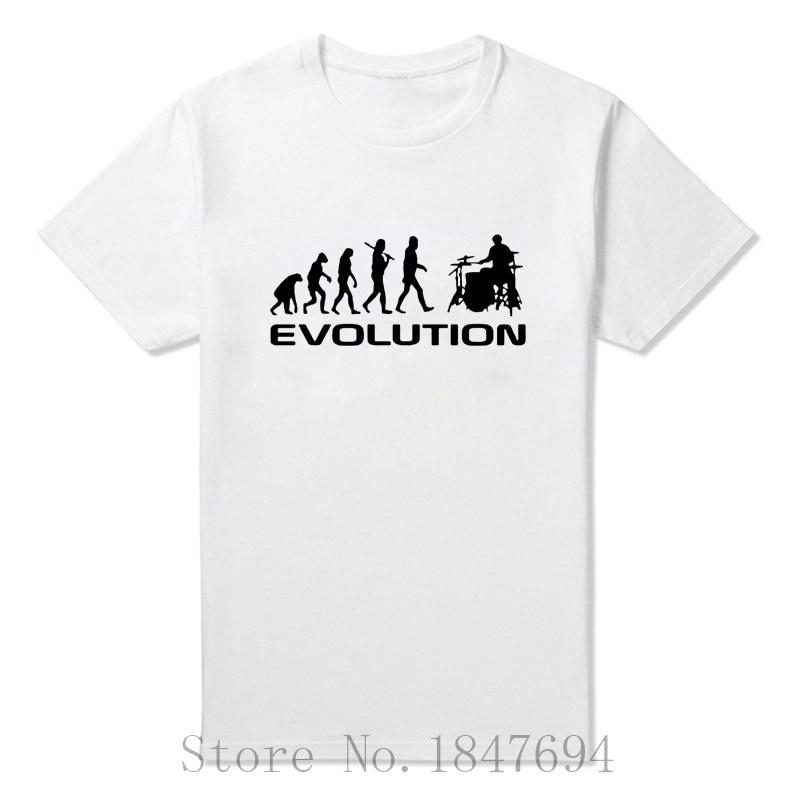summer Mens T-shirt Bodybuilding Undershirt Fitness Men Drummer Evolution Funny Music humor Drums T Shirt Top Tees