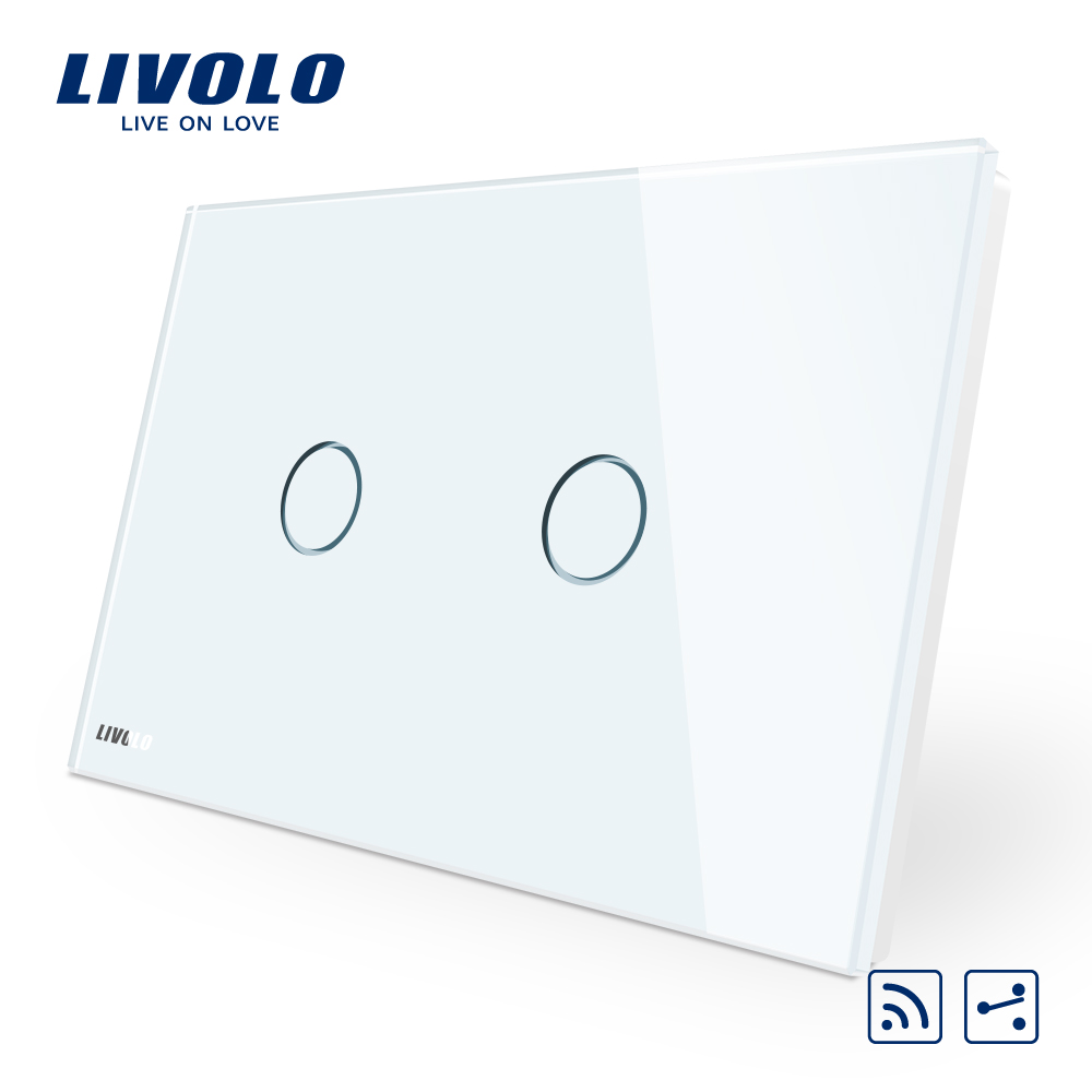 Livolo AU/US Standard ,VL-C902SR-11 remote switch, White Crystal Glass Panel, 2-Way Wireless Remote Home Wall Light Switch smart home us au wall touch switch white crystal glass panel 1 gang 1 way power light wall touch switch used for led waterproof