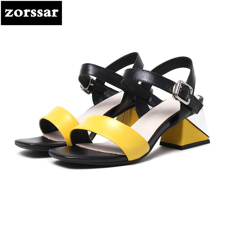 {Zorssar} 2018 Genuine Leather Ankle Strap heels Women Sandals Summer Shoes Women open toe Chunky High Heels Party Dress Sandals summer roma style women buckle strap sandals ankle strap open toe high heeled female dress party sandals shoes