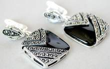 DYY 2 14+++ New High Quality Fashion Picture Vintage Style Sterling Silver 925 BLACK ONYX Marcasite Square Drop Earrings(China)