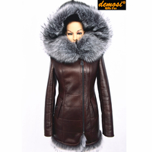 Factory direct supplier Zippers sheepskin thick cold fox Faux collar large size women's winter fashion fur coat artificial suede